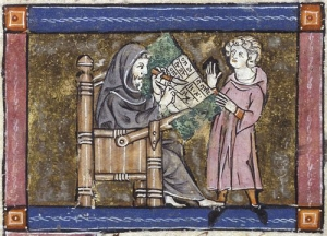 medieval scribe and person